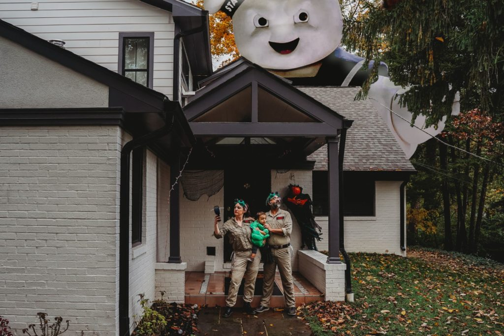 Best Maternity and Newborn Photographer Washington DC family ghosbusters halloween costumes