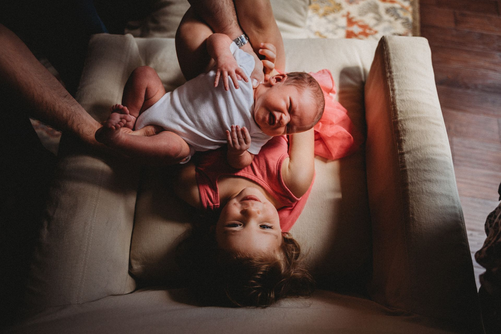 Best Maternity and Newborn Photographer Washington DC Maryland Northern Virginia toddler girl holding newborn baby brother