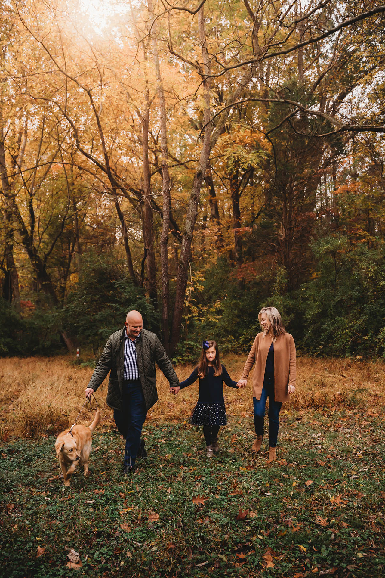 washington dc lifestyle family photographer - family walking in fall field with daughter and golden retriever