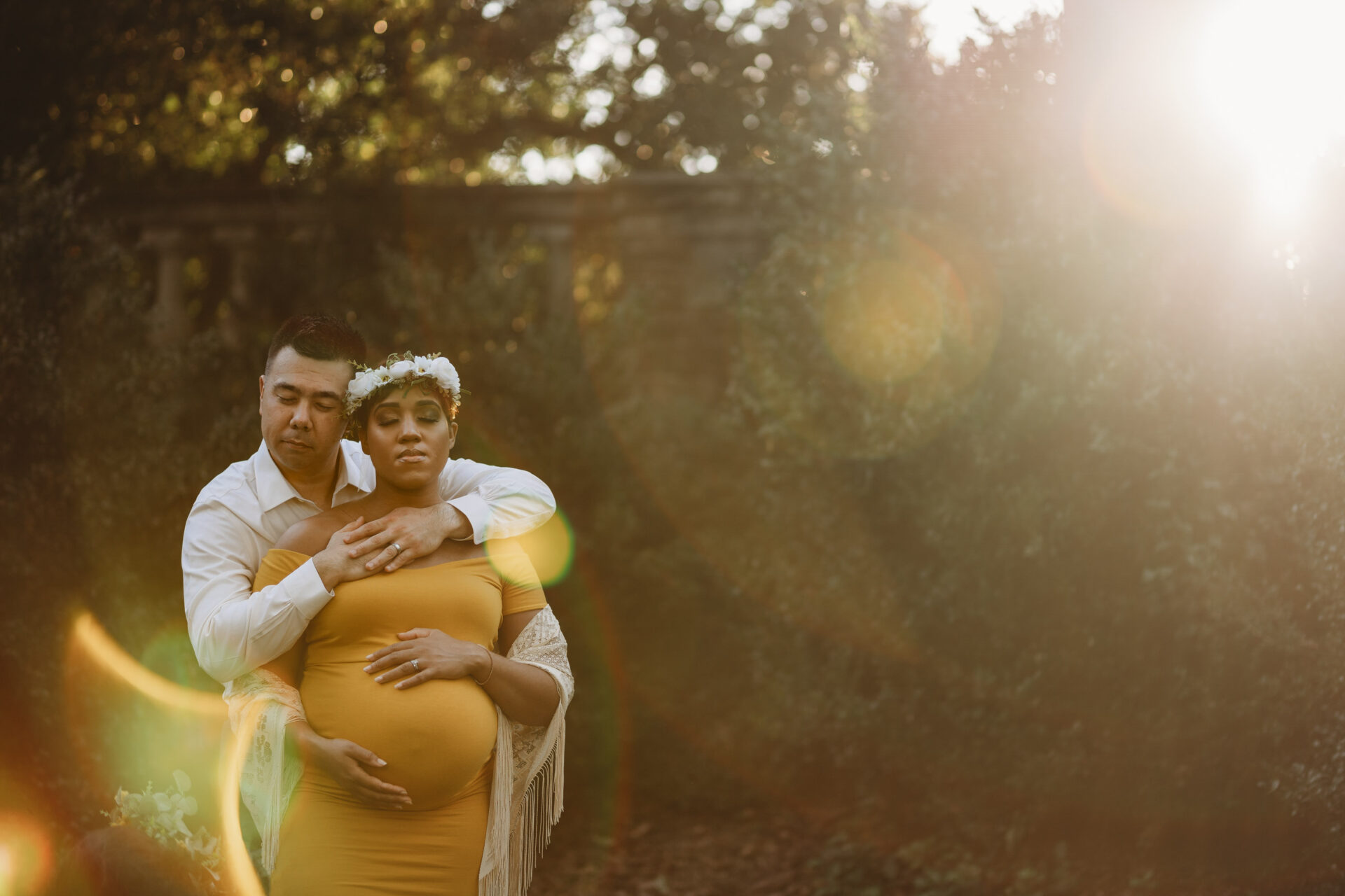 glamorous outdoor maternity pregnancy photo yellow dress