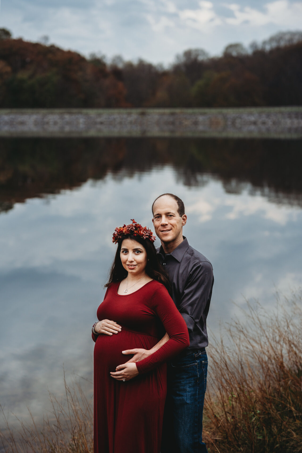 outdoor maternity photos pregnancy floral crown lakeside