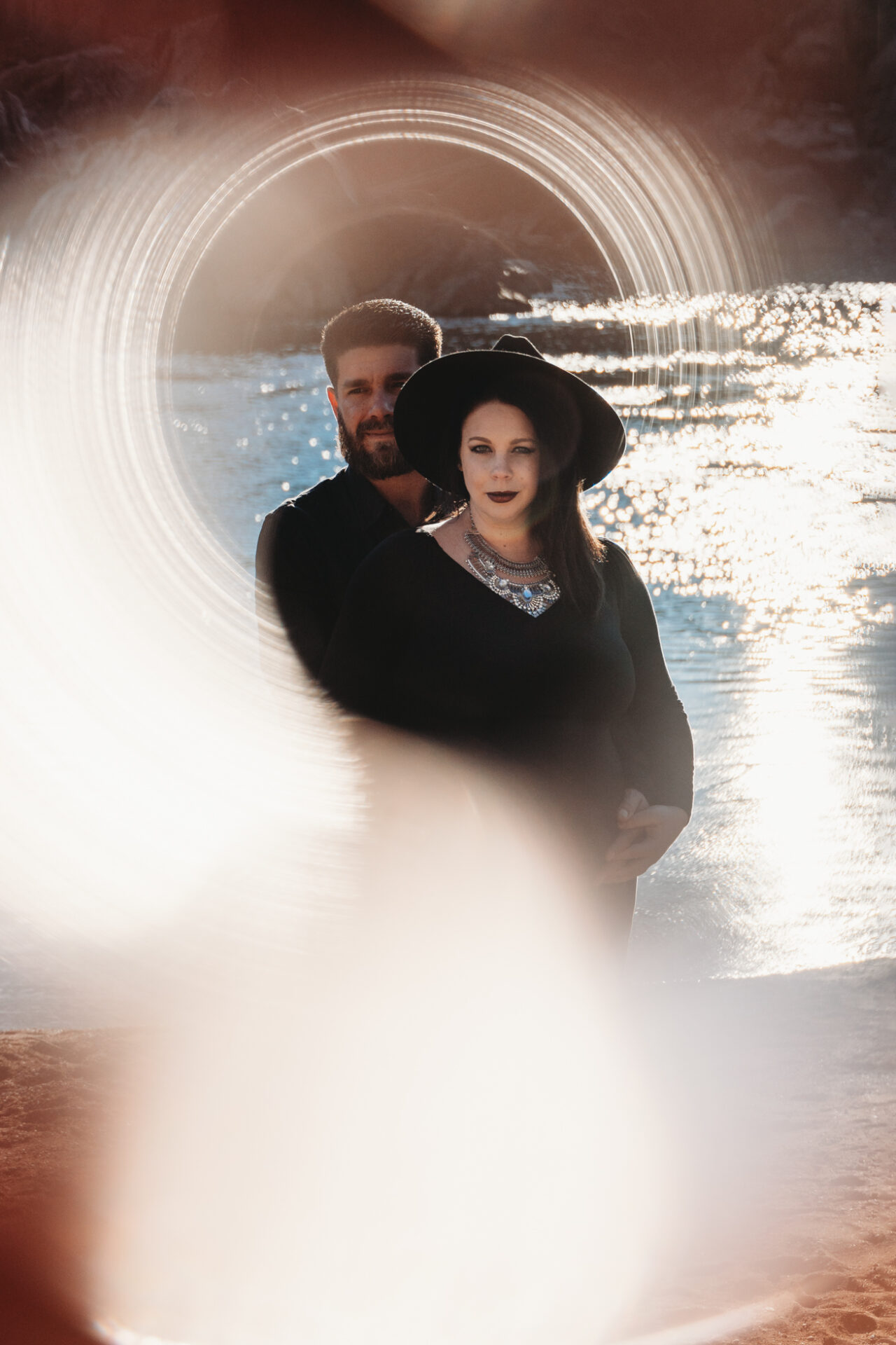 northern virginia creative maternity photo with copper ring sun flare
